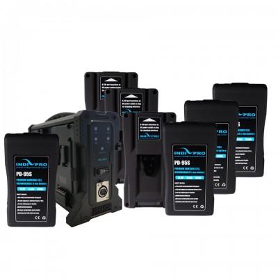 IndiPRO Tools 6x 95Wh V-Mount Li-Ion Batteries & 1x Quad Pro V-Mount Charger (FREE 95Wh V-Mount Battery)