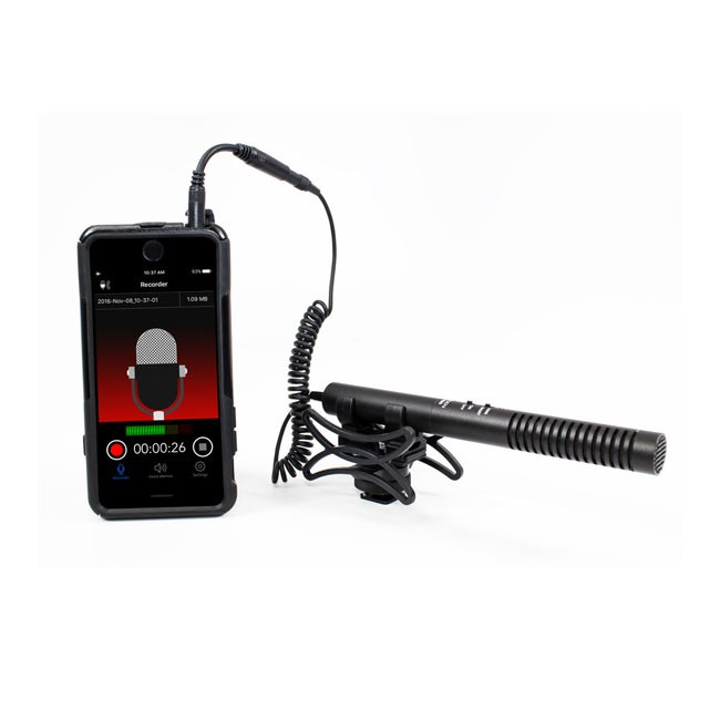 Azden 2-Position Shotgun Mic with TRRS Adapter for iOS