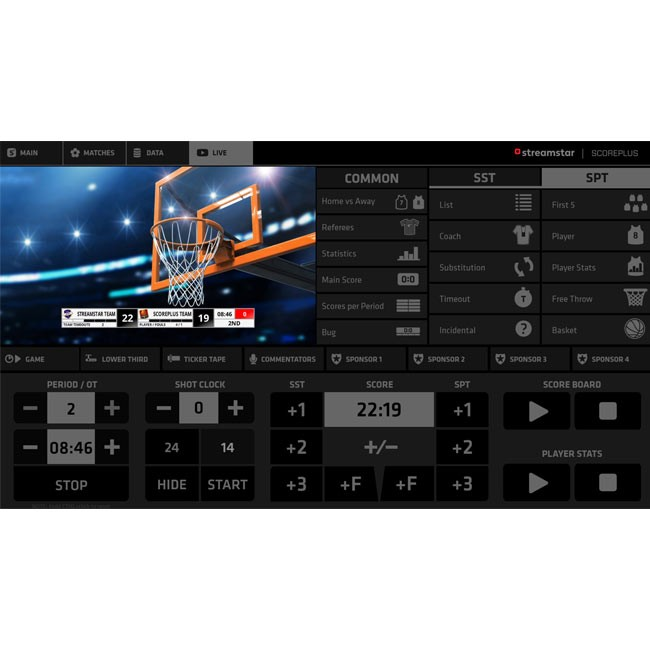 Streamstar ScorePLUS Module for Basketball (Perpetual Licence)