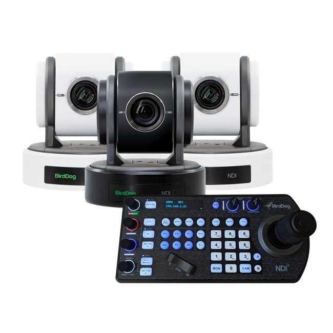 BirdDog Eyes P100 1080P Full NDI PTZ Camera with SDI (2x White / 1x Black) & PTZ Keyboard Controller Bundle