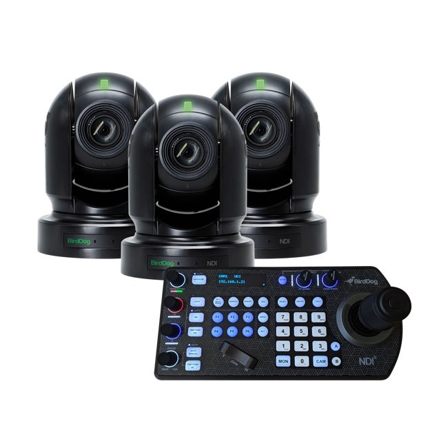 BirdDog Eyes P200 1080P Full NDI PTZ Camera (3x Black) & PTZ Keyboard Controller Bundle