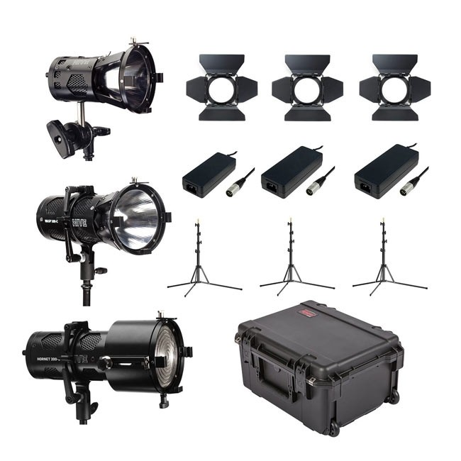 Hive Lighting 3 Light Kit with 1 BEE 50-C Par Spot, 1 WASP 100-C Par Spot, 1 HORNET 200-C Fresnel with 3 Stands and Case (Custom Foam)