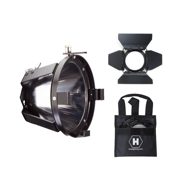 Hive Lighting Par Reflector Attachment, Barndoors and 3 Lens Set (Medium, Wide, Super Wide) with Bag for Bee 50-C and Wasp 100-C
