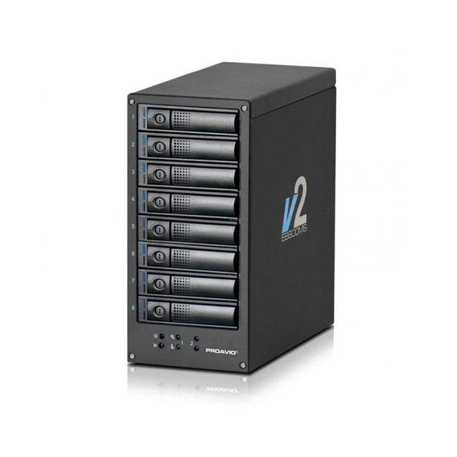 Proavio 32TB RAID 12G 8 Drive HD MiniSAS with Controller and 2 HD-MiniSAS Cables, Thunderbolt 2 Adapter and Thunderbolt Cable