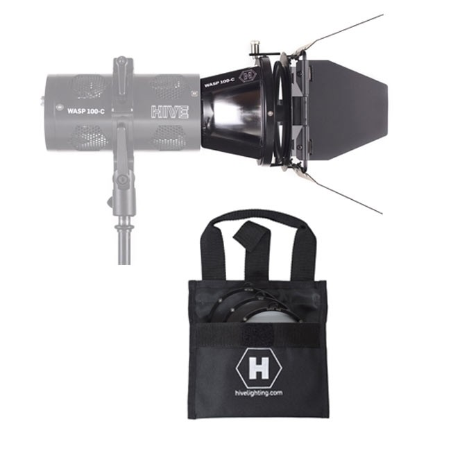 Hive Lighting Wasp 100-C Par Reflector Attachment, Barndoors and 3 Lens Set (Medium, Wide, Super Wide)