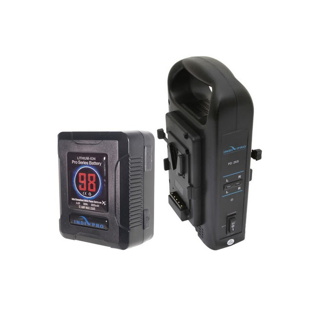 IndiPRO Tools Micro-Series 98Wh Li-Ion V-Mount Battery and Dual V-Mount Battery Charger Kit
