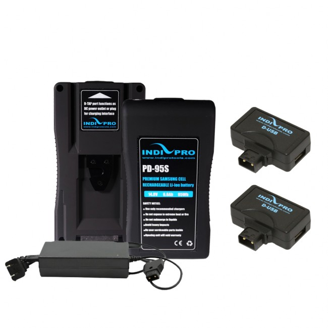 IndiPRO Tools 2x Compact 95Wh V-Mount Li-Ion Batteries (FREE D-Tap Pro Charger (2.5A) & 2x D-USB Adapters)