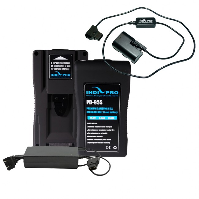 IndiPRO Tools 2x 95Wh V-Mount Li-Ion Batteries & 1x D-Tap Pro Charger (2.5A)  (FREE D-Tap to Canon LP-E6 Type Dummy Battery)
