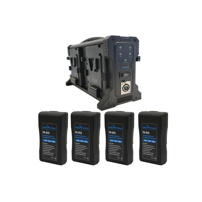IndiPRO Tools Four Compact 95Wh V-Mount Li-Ion Batteries and Quad Pro Battery Charger Kit