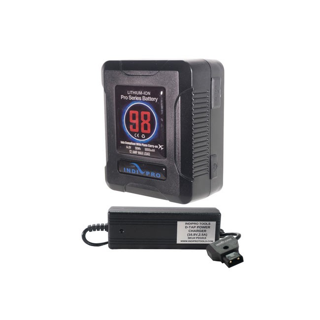 IndiPRO Tools Micro-Series 98Wh V-Mount Li-Ion Battery and D-Tap Pro Battery Charger (2.5A) Kit