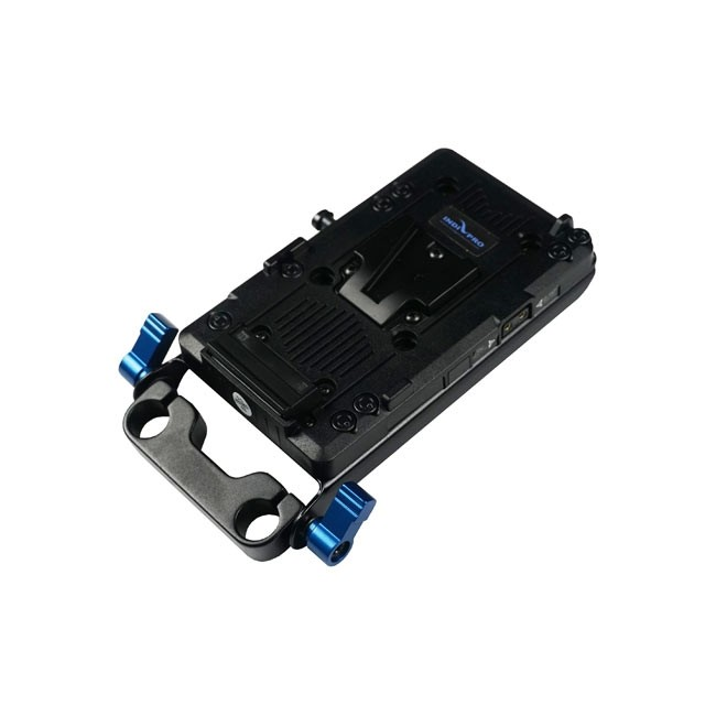 IndiPRO Tools V-Mount Battery Adapter Plate with D-Tap Output and 15mm Rod System
