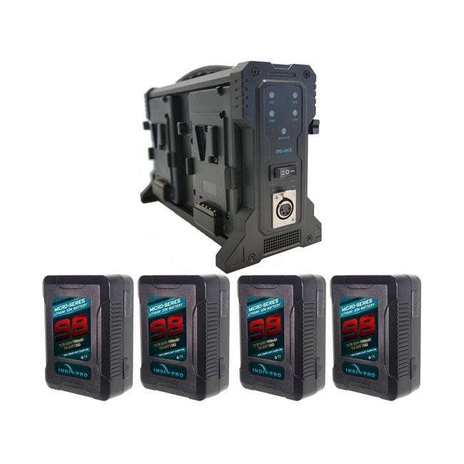 IndiPRO Tools Four Micro-Series 98Wh V-Mount Li-Ion Batteries and Quad Pro V-Mount Battery Charger Kit