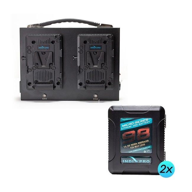 IndiPRO Tools 2x Micro- Series 98Wh V-Mount Li-Ion Batteries and Dual Fusion V-Mount Charger