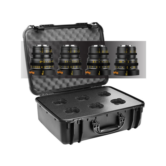 Veydra Mini Prime 4 Lens Kit, 16mm, 25mm, 35mm, 50mm T2.2 M4/3 with 6 Lens Case (Imperial Focus Scale)