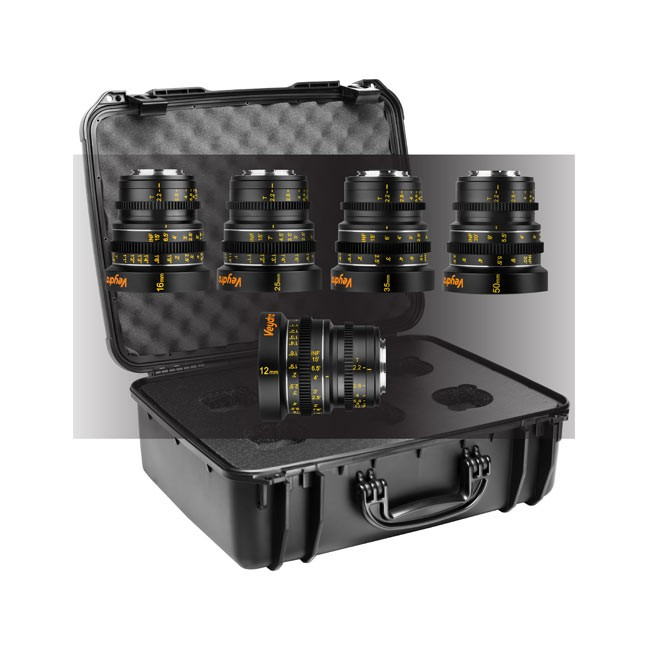 Veydra Mini Prime 5 Lens Kit, 12mm, 16mm, 25mm, 35mm, 50mm T2.2 M4/3 with 6 Lens Case (Imperial Focus Scale)