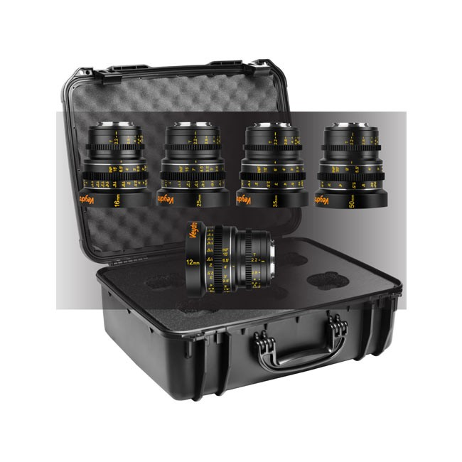 Veydra Mini Prime 5 Lens Kit, 12mm, 16mm, 25mm, 35mm, 50mm T2.2 M4/3 with 6 Lens Case (Metric Focus Scale)