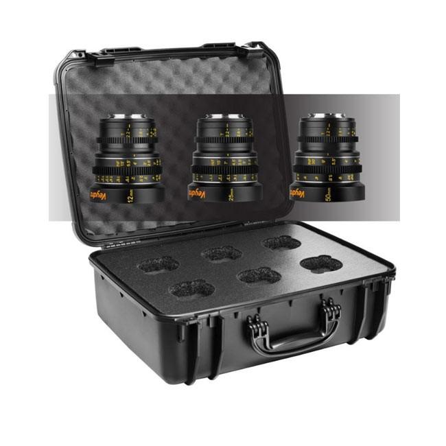 Veydra Mini Prime 3 Lens MFT Starter Kit, 12mm, 25mm, 50mm T2.2 M4/3 with 6 Lens Case (Imperial Focus Scale)