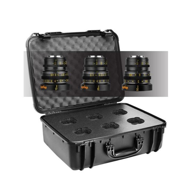 Veydra Mini Prime 3 Lens MFT Starter Kit, 12mm, 25mm, 50mm T2.2 M4/3 with 6 Lens Case (Metric Focus Scale)