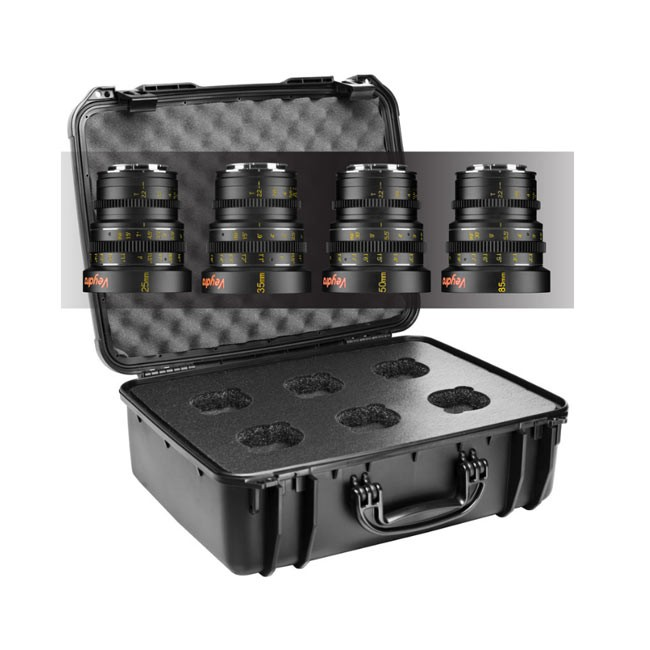 Veydra Mini Prime 4 Lens Kit, 25mm, 35mm, 50mm, 85mm Sony E Mount with 6 Lens Case (Imperial Focus Scale)