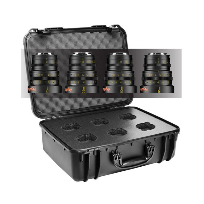 Veydra Mini Prime 4 Lens Kit, 25mm, 35mm, 50mm, 85mm Sony E Mount with 6 Lens Case (Metric Focus Scale)