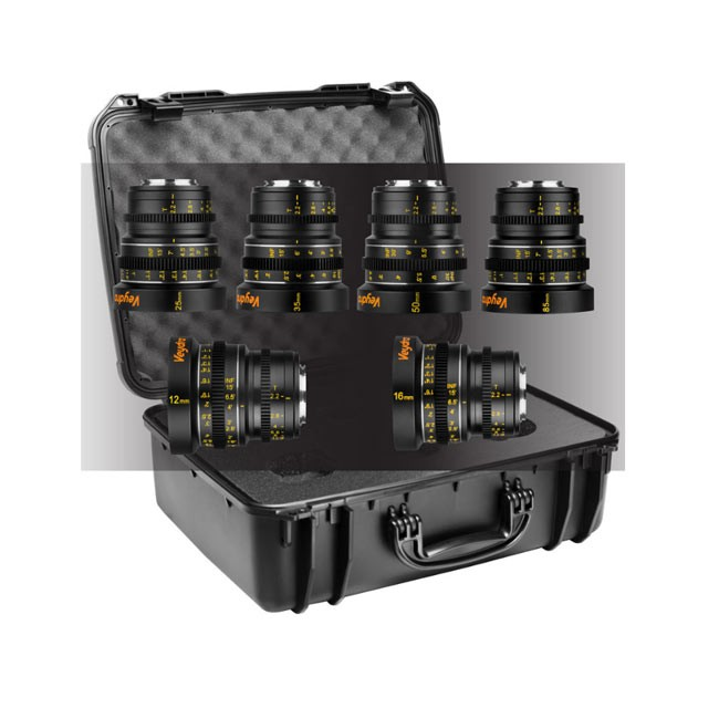 Veydra Mini Prime 6 Lens Kit, 12mm, 16mm, 25mm, 35mm, 50mm, 85mm M4/3 with 6 Lens Case (Metric Focus Scale)