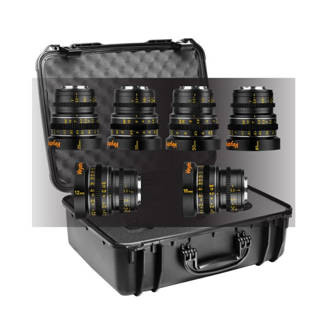 Veydra Mini Prime 6 Lens Master Kit, 12mm, 16mm, 25mm, 35mm, 50mm, 85mm M4/3 with 6 Lens Case (Imperial Focus Scale)