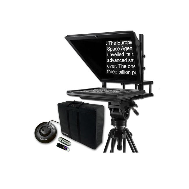 """Autocue 17"""" Prompter Package, QStart, Controller & Carry Case"""